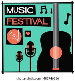 Music Festival! (Flat Style Vector Illustration Quote Poster Design)