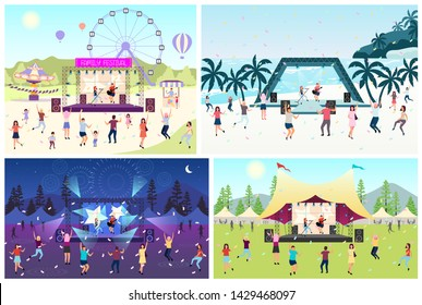 Music festival flat vector illustration set. Open air live performance. Rock, pop musician concert in park, camp. People having fun outdoors in summer. Beach party. Dancing cartoon characters