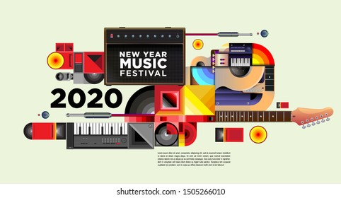 Music Festival Illustration Design for 2020 New Year Party and Event. Vector Illustration Collage of Music Festival Background and Wallpaper in eps 10.