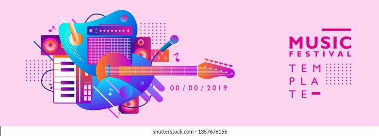 Music Festival Illustration Design for Party and Event. for web, banner, poster design and others, purple, pink, blue, red, and orange color