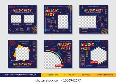 Music Festival Memphis Style social media post design template Premium Vector