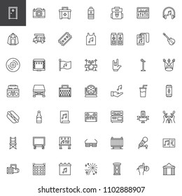 Music festival outline icons set. linear style symbols collection, line signs pack. vector graphics. Set includes icons as Dressing room, Caravan, Ticket, Speakers, Drum set, Amplifier, Spotlight
