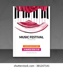 Music festival poster background. Flyer template. Jazz piano music flyer cafe promotional design.