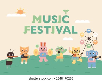 Music festival poster of cute animals. Cute animals playing musical instruments. flat design style minimal vector illustration