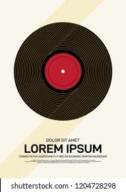 Music festival poster design template modern vintage retro style. Can be used for background, backdrop, banner, brochure, leaflet, flyer, publication, advertisement, vector illustration