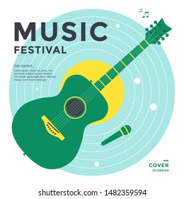 Music festival poster design template. Green Guitar with mic on blue plate. Vector Musical cover