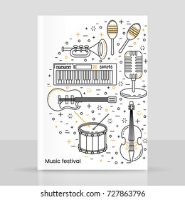 Music festival poster line art with musical instruments pattern