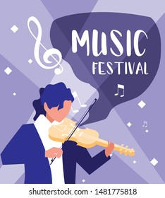 music festival poster with man playing fiddle