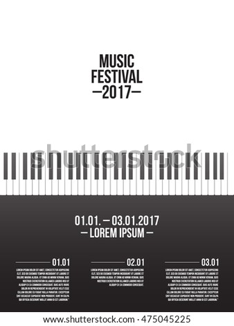 Music Festival Poster Template With Piano Keyboard Vector Illustration EPS 10