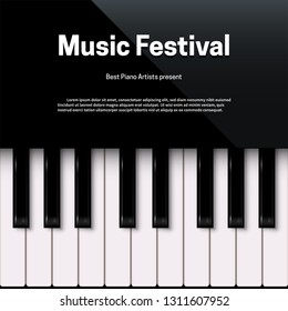Music festival poster template with text space. Live concert, contest, competition event promotion. Acoustic, classical music, performance banner layout with copyspace. Piano keys vector illustration