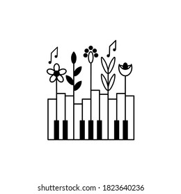 Music festival poster, vector concept. Layout with piano keys and plants. Nature and music.