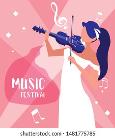 music festival poster with woman playing fiddle