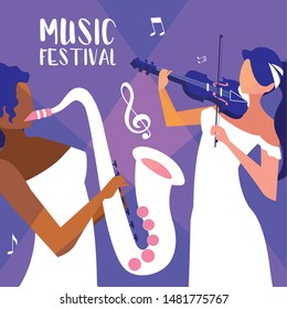 music festival poster with women playing fiddle and saxophone