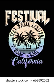 Music festival print with palm trees and texts in vector.Summer print on black.