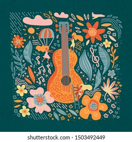 Music festival vector illustration, guitar with flowers art and lettering text. Hippie chic, bohemian style. Hand drawn banner, poster, postcard or t-shirt print.