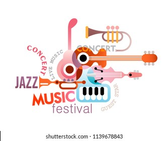 Music festival vector poster design isolated on a white background. Art composition of musical instruments and text.