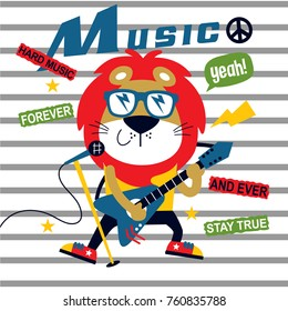 music festival,lion the guitarist cute cartoon,vector illustration