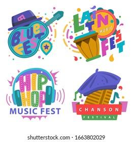 Music festivals emblem set, invitation for event. Jazz fest, Pop, Blues, Ethnic, Chanson, Trance, Downtempo, Drum n bass, Classic fest, Techno, IDM, Raggae, Hip Hop, East music festival. Vector badge