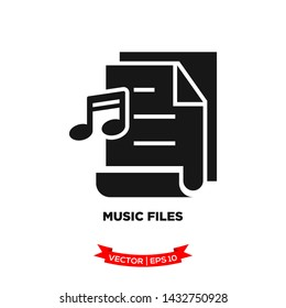 music file icon in trendy flat style, file icon, document icon, music note icon