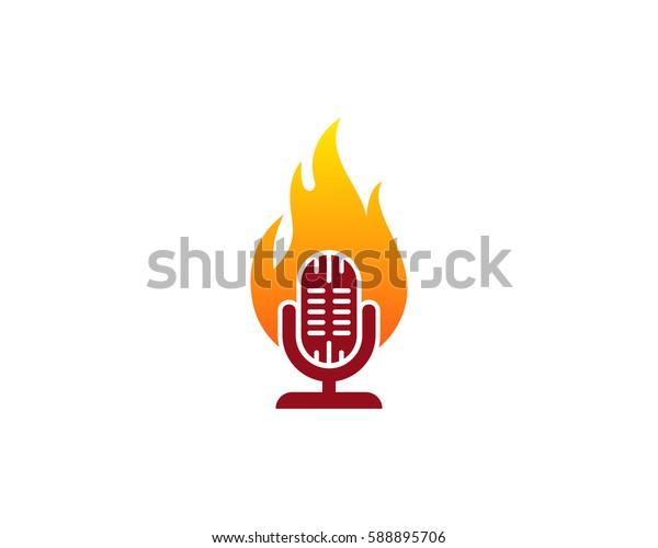 Music Fire Logo Design Element