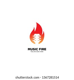 Music Fire logo template, vector illustration icon element - Vector