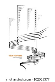Music flowing over the city, vector illustration