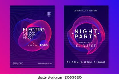 Music flyer. Dynamic gradient shape and line. Trendy show cover set. Neon music flyer. Electro dance dj. Electronic sound fest. Techno trance party. Club event poster.