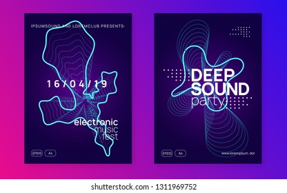 Music flyer. Dynamic gradient shape and line. Geometric show cover set. Neon music flyer. Electro dance dj. Electronic sound fest. Techno trance party. Club event poster.