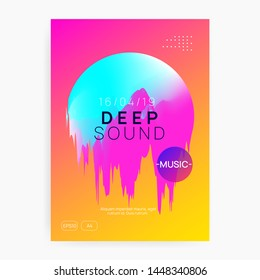 Music flyer. Electronic sound. Night dance lifestyle holiday. Fluid holographic gradient shape and line. Feminine trance concert invitation template. Poster for summer fest and music flyer.