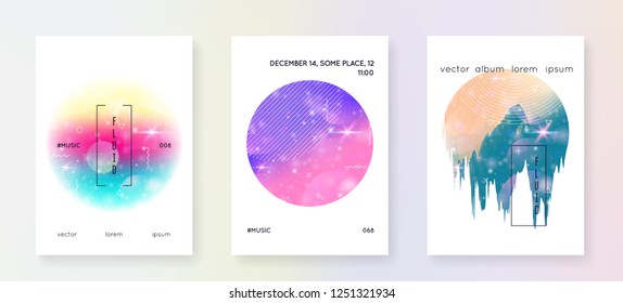Music flyer. Fluid holographic gradient shape and line. Dynamic magazine template set for trance show. Electronic sound. Night dance holiday. Music flyer and poster for summer fest.