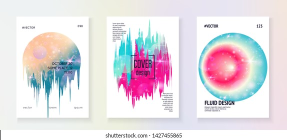 Music flyer. Fluid holographic gradient shape and line. Trendy invitation layout set for disco club. Electronic sound. Night dance holiday. Music flyer and poster for summer fest.