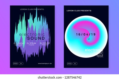 Music flyer set. Electronic sound. Night dance lifestyle holiday. Feminine indie event magazine layout. Fluid holographic gradient shape and line. Poster for summer fest and music flyer.