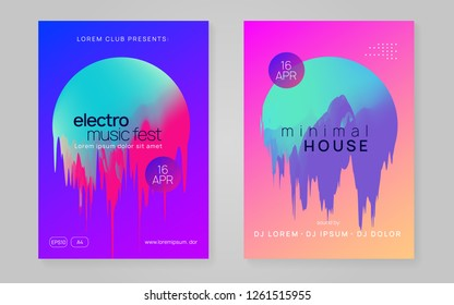 Music flyer set. Modern techno club invitation template. Electronic sound. Night dance lifestyle holiday. Fluid holographic gradient shape and line. Poster for summer fest and music flyer.