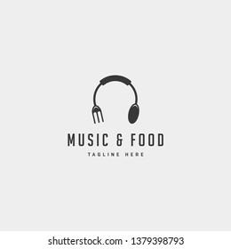 music food simple flat logo design vector illustration icon element