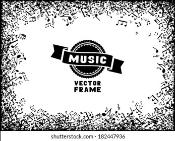 Music frame. Set of black music elements on white background. There is place for your text in the center.