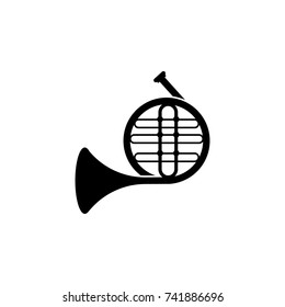 Music french horn icon on white background