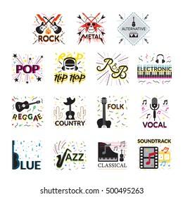 Music Genres Signs and Symbols, Vector Illustration, Design Element