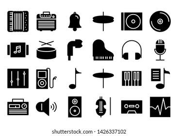 music glyph icon symbol set