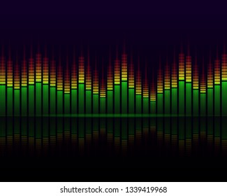 Music graphic equalisers and audio analysis clip. Color Music Equalizer. Visualization of the equalizer spectrum - Vector illustration