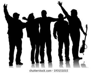 Music group with arms raised on stage