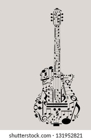 Music guitar concept made with musical symbols for poster design