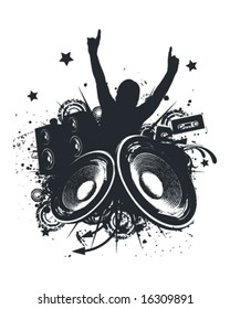 Music Hands Up Vector Illustration