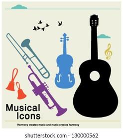 MUSIC & HARMONY ICONS DESIGN ELEMENTS.