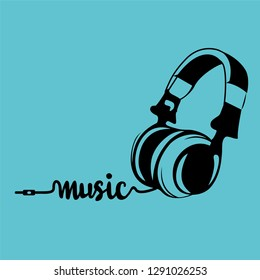 Music Headphone Silhouette Logo Vector