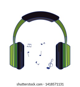 Music heaphones eletronic devices cartoon isolated vector illustration graphic design