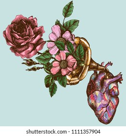 Music of the heart. Hand drawn vector symbolic illustration with a human heart and a gramophone tube with blooming roses.