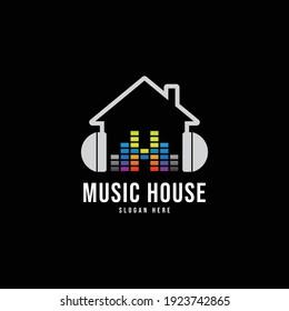Music house logo template, vector illustration