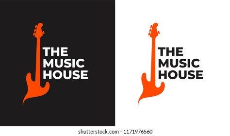The Music House. A Music Shop Logo with a Guitar Silhouette