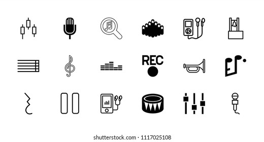 Music icon. collection of 18 music filled and outline icons such as drum, harmonica, trumpet, control panel, mp3 player, microphone. editable music icons for web and mobile.