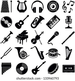 Music icon collection - vector silhouette illustration